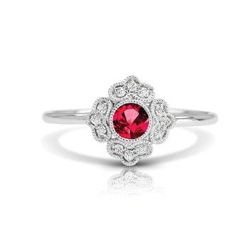 - 1/20ct. Diamond & 1/4ct. Ruby Round Gemstone 14k Gold Vintage-Inspired Right Hand Ring
