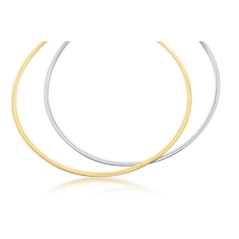 Fashion Jewelry Collection  - Sterling Silver Two-Tone 14k Yellow Gold Plated 6mm Reversible Omega Necklace