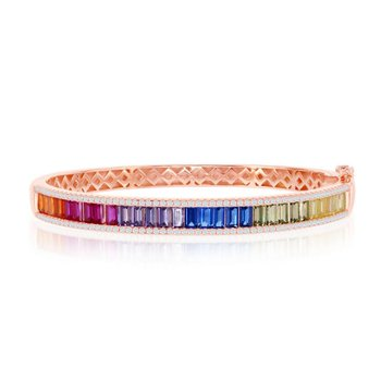- Sterling Silver Rose Gold Plated Multi-Color Rainbow Baguette CZ Bangle Bracelet