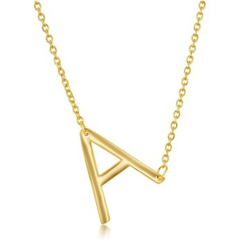 """- Sterling Silver 14k Yellow Gold Plated Sideways Letter Initial Chain Necklace - 16"""""""