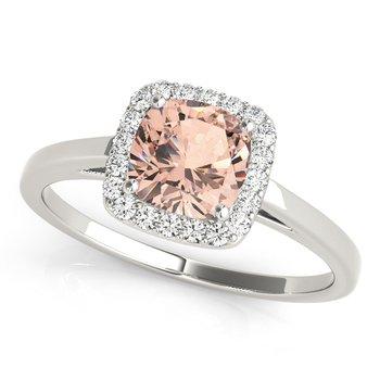 - Cushion Halo Diamond Engagement Ring and Wedding Band Set