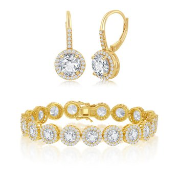 Sterling Silver Round CZ Halo Bracelet and Leverback Earrings Set