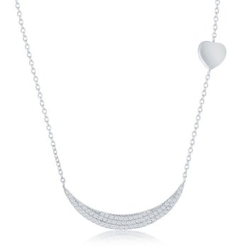 Sterling Silver Micro Pave CZ Crescent with Sideways Shiny Heart Necklace
