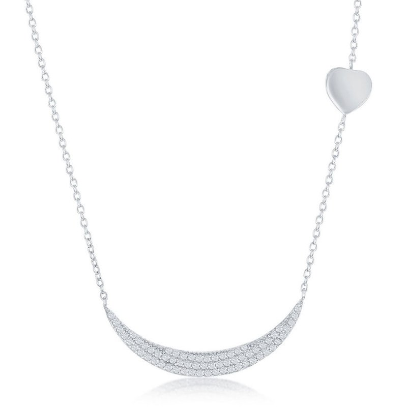 Fashion Jewelry Collection Sterling Silver Micro Pave CZ Crescent with Sideways Shiny Heart Necklace