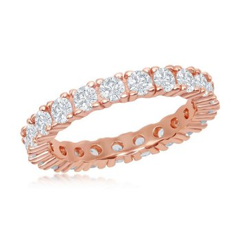 - Sterling Silver 14k Rose Gold Plated 3mm Round CZ Eternity Band Ring