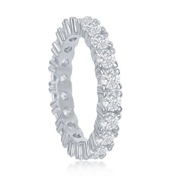 Sterling Silver 3mm Round CZ Eternity Band Ring