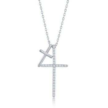 Sterling Silver Two Cross CZ Pendant Chain Necklace