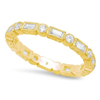 - 0.70Ctw. Round & Baguette Diamond Bezel Set 2.6mm Wide Eternity Wedding Band