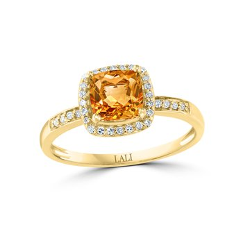 - 14k Yellow Gold 0.13Ctw. Diamond Halo and 0.79Ct. Citrine Gemstone Fancy Cocktail Ring