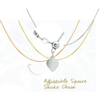 """Sterling Silver 1mm Square Snake Chain 14""""-22"""" Adjustable Necklace"""
