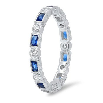 - Round Diamond & Baguette Blue Sahhpire Bezel Set 2.6mm Wide Eternity Wedding Anniversary Band