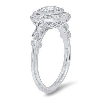 - Vintage Style Diamond Halo Gold Semi-Mount Engagement Ring