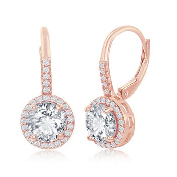- Sterling Silver Set with Round CZ Halo Earring Pair