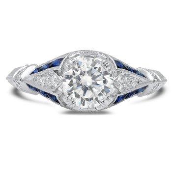 - Half Moon Blue Sapphire and Diamond Semi-Mount Bridal Engagement Ring