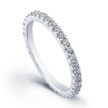 - 0.64Ctw. Round Diamond Prong Set Eternity Wedding Band