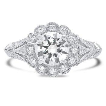 - Halo Split-Shank Filigree and Milgrain Semi-Mount Diamond Engagement Ring