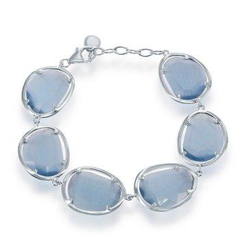 "- Simona Sterling Silver Denim Blue Cat's Eye Bracelet - 7.50"""