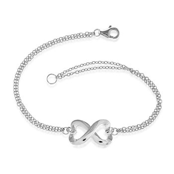 """- Sterling Silver 14k Yellow Gold Plated Infinity Heart Double Strand Chain Bracelet - 7"""""""