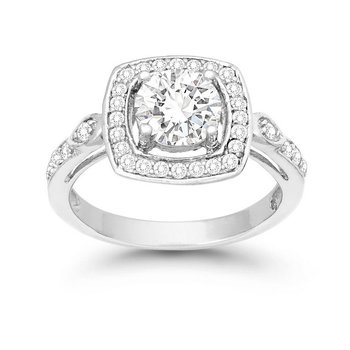 Sterling Silver 7mm Round CZ Halo Accented Square Engagement Ring