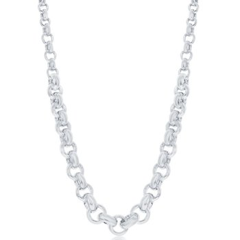 """- Bella Moda Sterling Silver High Polished Graduated Rolo Link Chain Necklace - 18"""""""