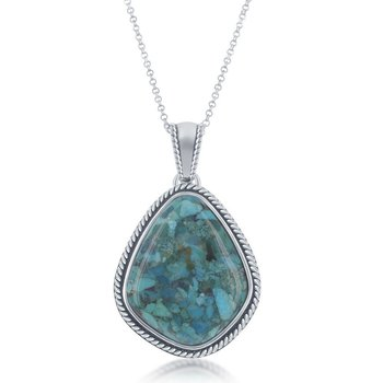 - Sterling Silver Large Diamond-Shaped Turquoise Oxidized Rope Border Pendant with Chain