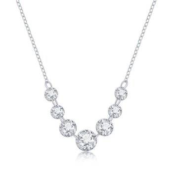Sterling Silver Graduating Round CZ Chain Necklace
