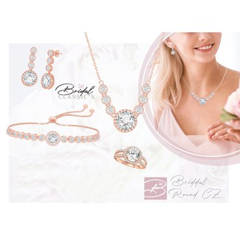 Sterling Silver Round CZ Chain Necklace, Bracelet, Earrings and Ring Set