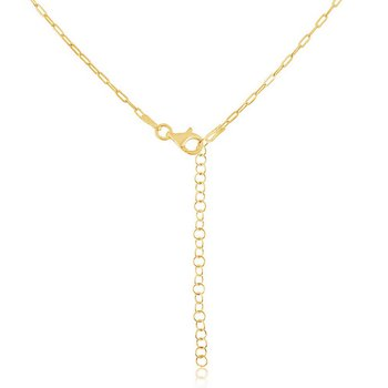 """Sterling Silver 1.65mm Adjustable Paper Clip Style Chain Necklace (16""""+2"""")"""