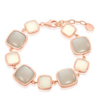 """- Simona Sterling Silver 14k Rose Gold Plated Alternating White and Light Gray Moonstone Square Bracelet - 7"""""""
