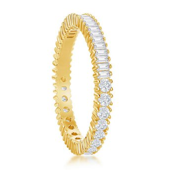 Sterling Silver Half Round and Half Baguette CZ Eternity Band Ring