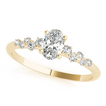 - 5/8ctw. Oval and Round Accented Diamond Engagement Ring