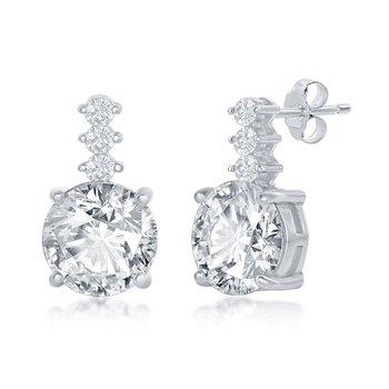 Sterling Silver Round CZ Bar Stud Earrings Pair
