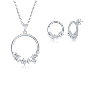 Sterling Silver Multi-Shaped CZ Open Circle Pendant Chain Necklace & Earrings Set
