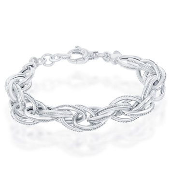 "- Bella Moda Sterling Silver Multi-Oval Rope Design Link Chain Bracelet - 8"""