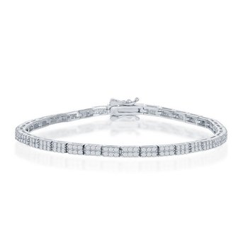 - Sterling Silver Double Row Micro Pave Set CZ Stones Tennis Bracelet - 7.50""