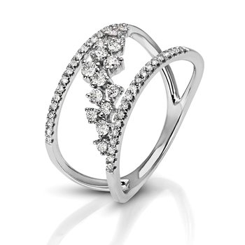 1/2ct. Diamond 14k White Gold Negative Space Floral Flower Right Hand Ring