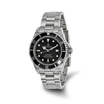 : Pre-Owned Independently Certified Rolex Sea Dweller Steel with Black Dial, Rotating Bezel, and Oyster Band