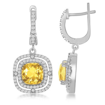 - Bellissima Sterling Silver Square Citrine and White Topaz Gemstones Dangle Drop Latchback Earring Pair