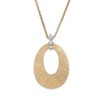 - 1/20ct. Diamond Textured Finish 14k Gold Pendant Chain Necklace
