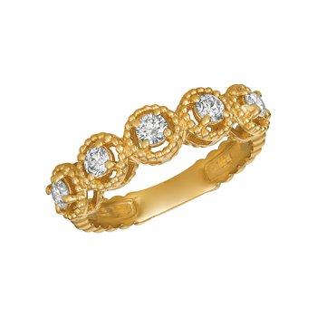 14k Gold 0.50ctw. Diamond 5-Stone Beaded Anniversary Wedding Band Ring