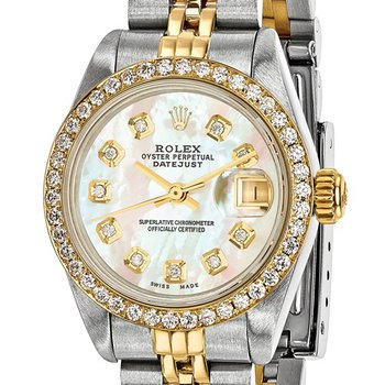 : Pre-Owned Independently Certified Rolex Ladies Datejust Two-Tone Steel/18ky with Diamond Mother-of-Pearl Dial, Diamond Bezel, and Jubilee Band