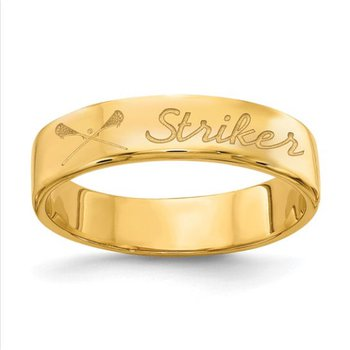 14k Gold Personalized Name Symbol 4.7mm Band Ring