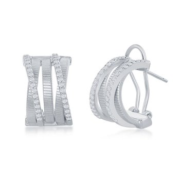 - Italian Collection CZ Stones Platinum Bonded Sterling Silver Huggie Earring Pair