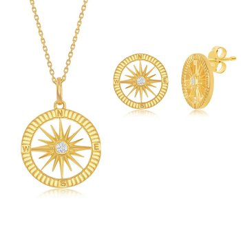 Sterling Silver 14k Yellow Gold Plated CZ Compass Pendant & Earrings Set