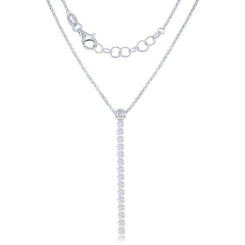 Sterling Silver Round CZ Vertical Chain Necklace