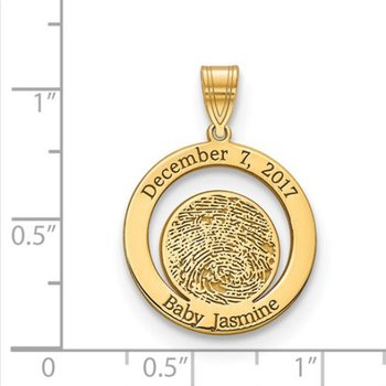 14k Gold Personalized 20.5x19.2mm Circle Date of Birth Fingerprint Pendant