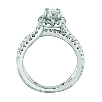 14K White Gold 1.42ctw. Diamond Solitaire Halo Accented Split-Shank Anniversary Engagement Wedding Ring Set