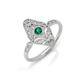 - 1/8ctw. Diamonds & 1/10ct. Emerald Round Gemstones 14k Gold Vintage-Inspired Right Hand Ring
