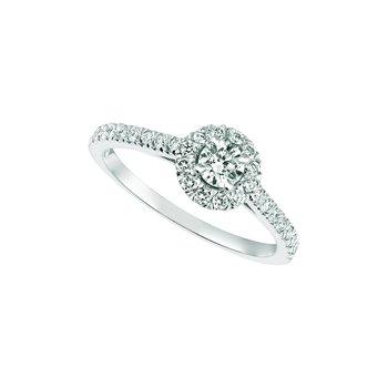 14K White Gold 0.61ctw. Diamond Halo Anniversary Engagement Wedding Ring