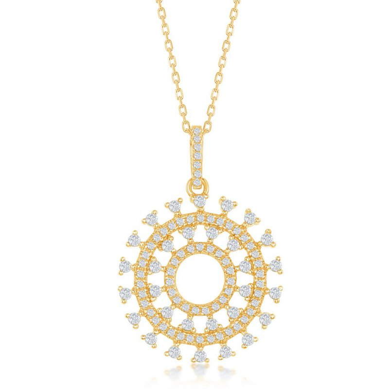 Fashion Jewelry Collection Sterling Silver Sun Design CZ Fancy Pendant